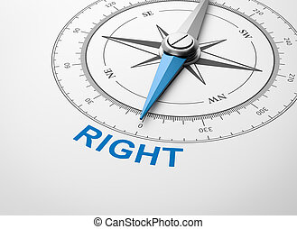 Compass on White Background, Right Concept