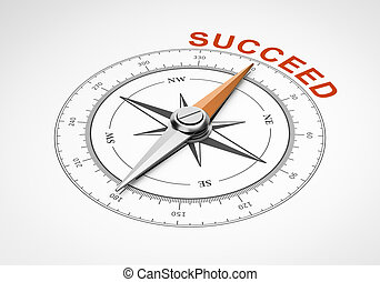 Compass on White Background, Succeed Concept