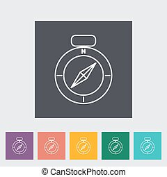 Compass outline icon on the button. Vector illustration.