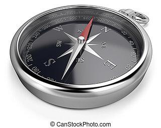 Compass. - Metal compass, black dial.