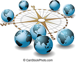 Compass points earth global directions - Worldwide compass...