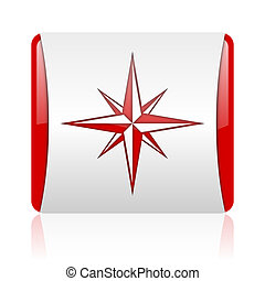 compass red and white square web glossy icon