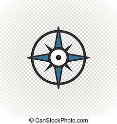 Compass retro design vector icon isolated on transparent