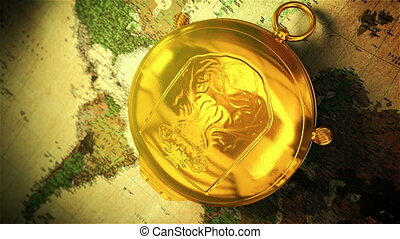 Compass - Retro gold compass opening on the old map