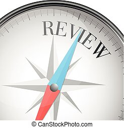 detailed illustration of a compass with review text, eps10 vector