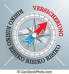 Compass Risiko Versicherung - White compass on the grey...