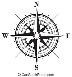 Black compass rose isolated on whte