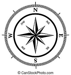 Compass rose in black and white, vector illustration