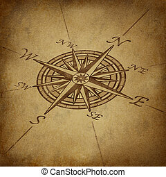Compass rose in perspective with grunge texture - Compass...