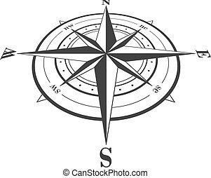 Compass rose isolated on white.
