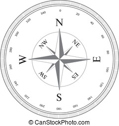 Compass rose isolated on white. Vector illustration