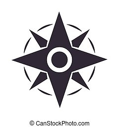 compass rose navigation adventure equipment line design icon