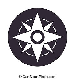 compass rose navigation adventure equipment silhouette design icon