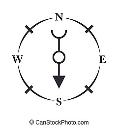 compass rose navigation antique equipment line design icon