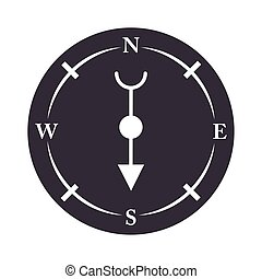 compass rose navigation antique equipment silhouette design icon
