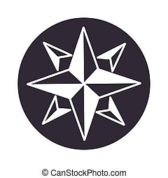 compass rose navigation cartography equipment silhouette design icon