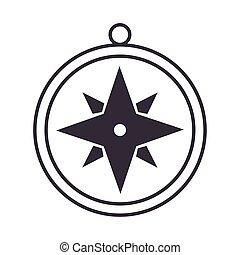 compass rose navigation journey equipment line design icon
