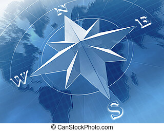 Compass rose on  background of world map