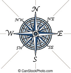 Compass rose on white background representing a cartography...