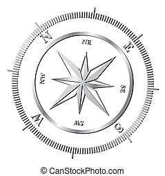 Compass rose - Silver shiny compass rose