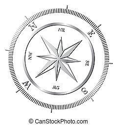 Compass rose - Silver shiny compass rose