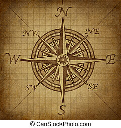 Compass rose with grunge texture - Compass rose with old...