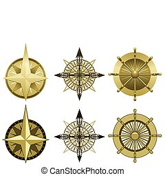 Compass roses - Collection of three compass roses in two...