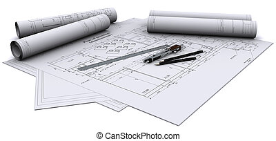 compass, ruler and pencil on architectural drawings