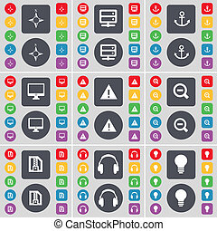 Compass, Server, Anchorr, Monitor, Warning, Magnifying glass, ZI icon symbol. A large set of flat, colored buttons for your design.