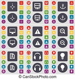 Compass, Server, Anchorr, Monitor, Warning, Magnifying glass, ZI icon symbol. A large set of flat, colored buttons for your design. Vector
