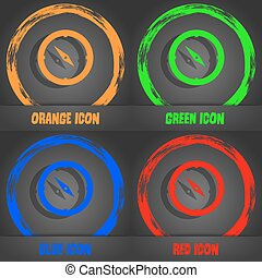 Compass sign icon. Windrose navigation symbol. Fashionable modern style. In the orange, green, blue, red design. Vector