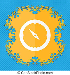 Compass sign icon. Windrose navigation symbol. Floral flat design on a blue abstract background with place for your text.