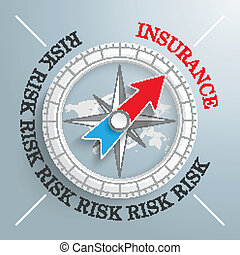 Compass Silver Background Risk Insurance