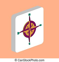 Compass Simple vector icon. Illustration symbol design template for web mobile UI element. Perfect color isometric pictogram on 3d white square. Compass icons for business project.