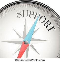 detailed illustration of a compass with support text, eps10 vector