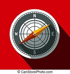 Compass Symbol. Long Shadow Flat Design Circle Icon.