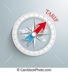 Compass Tarif - White compass on the grey background. German...
