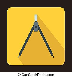 Compass tool icon in flat style