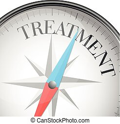 detailed illustration of a compass with treatment text, eps10 vector