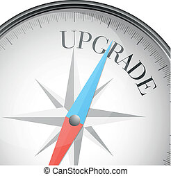 detailed illustration of a compass with upgrade text, eps10 vector