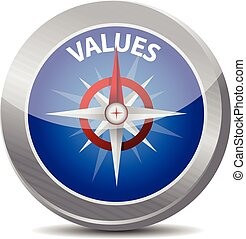 compass values illustration design over a white background