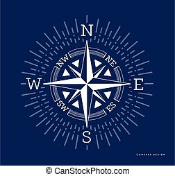 Compass vector illustration in flat style. Rose of the winds with starburst, sunburst ray elements