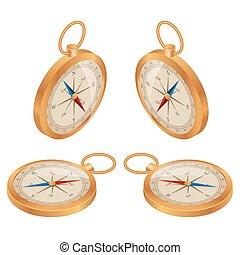 Compass vector. Wind rose retro design. Flat 3d vector isometric illustration.