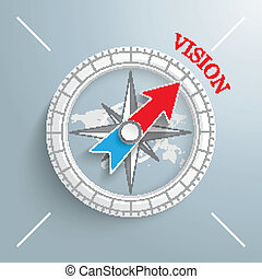 Compass Vision - White compass with red text Vision on the...