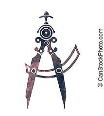 Compass. Watercolor illustration