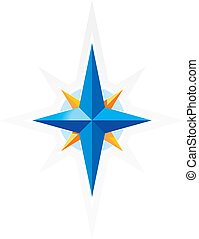 Compass wind-rose. Blue and orange star on white background. Vector illustration.