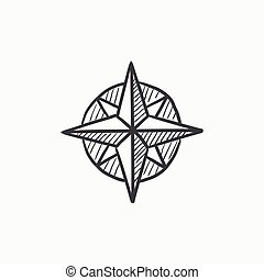 Compass wind rose sketch icon.