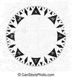 Compass wind rose with grunge background