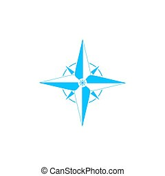 Compass, windrose icon flat