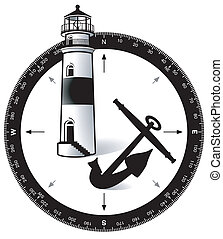 Compass, with a lighthouse